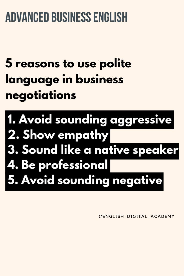 5 reasons to use polite English in business negotiations