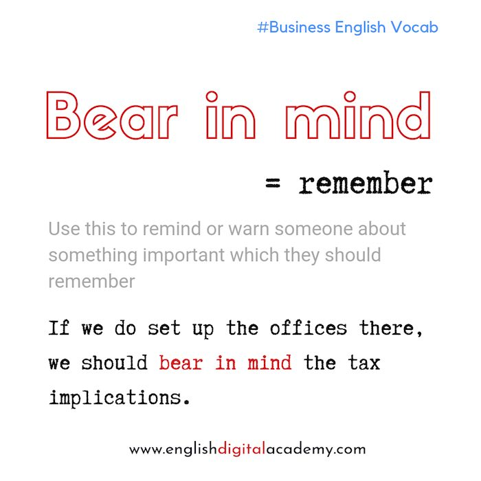 English expression bear in mind